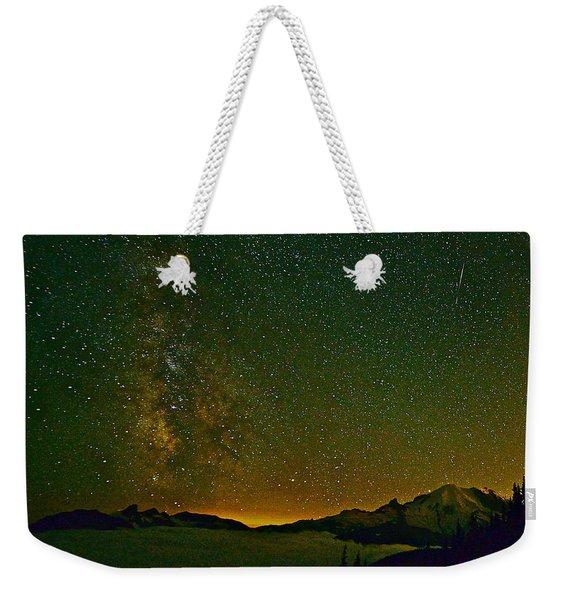 The Milky Way And Mt. Rainier Weekender Tote Bag