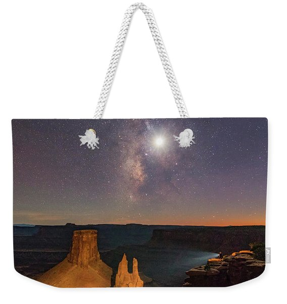 The Milky Way And The Moon From Marlboro Point Weekender Tote Bag