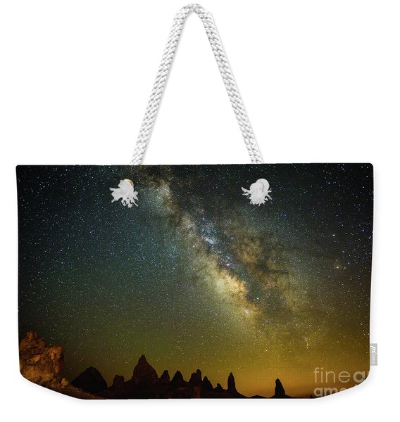 The Milky Way Galaxy Over The Trona Pinnacles In California. Weekender Tote Bag
