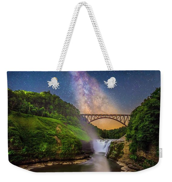 The Milky Way Over Upper Falls Weekender Tote Bag