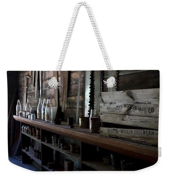 Weekender Tote Bag featuring the photograph The Mishawaka Woolen Bar by Lorraine Devon Wilke
