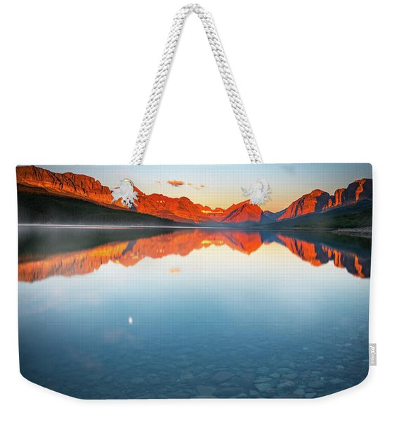 The Morning Tranquility With Full Moon Weekender Tote Bag