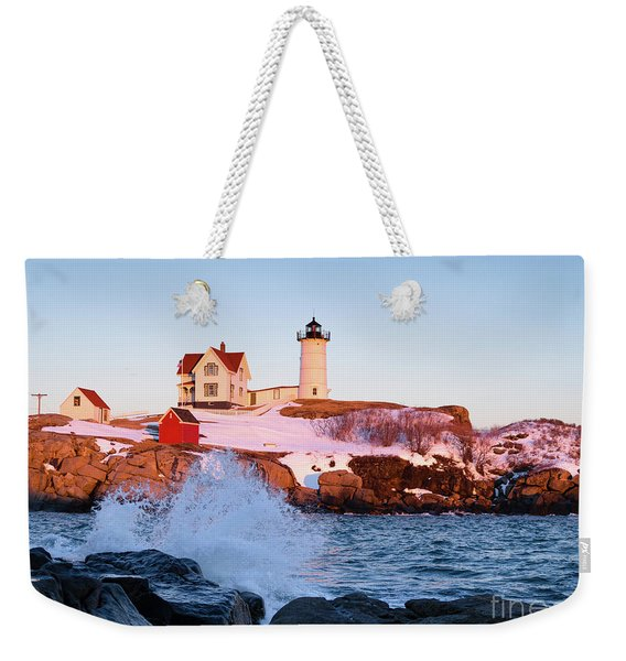 Weekender Tote Bag featuring the photograph The Nubble In Winter, Cape Neddick, Maine  -21022 by John Bald