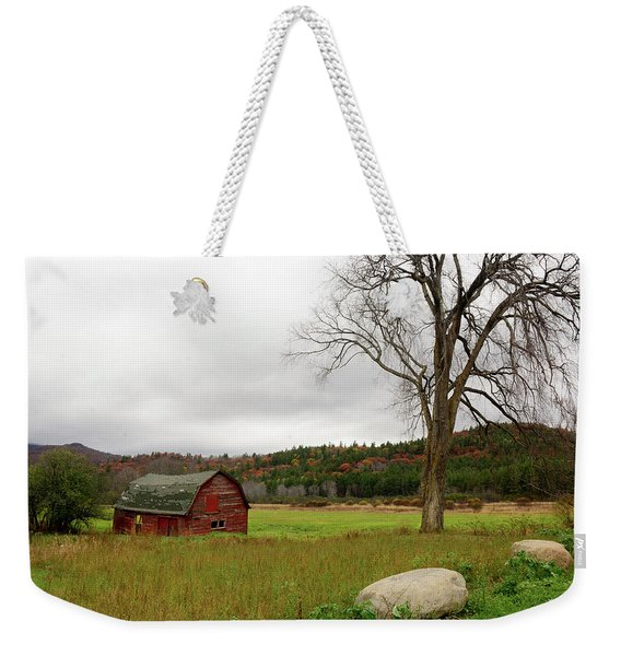Weekender Tote Bag featuring the photograph The Old Barn With Tree by Nancy De Flon