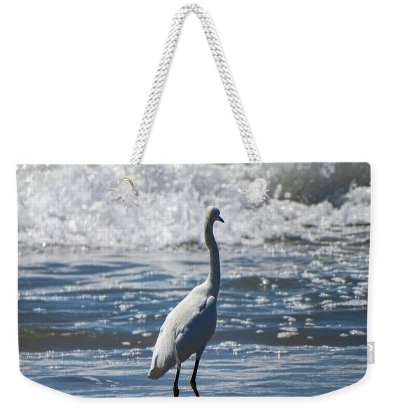 Egret And The Waves Weekender Tote Bag