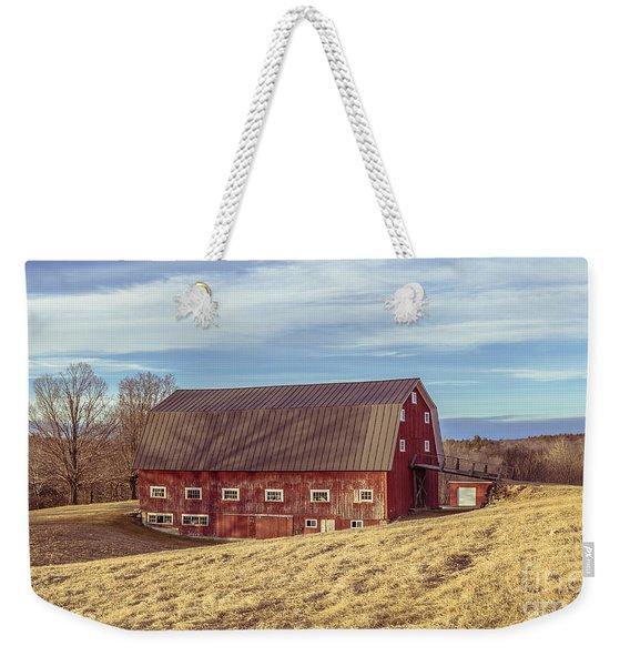The Old Red Barn In Winter Weekender Tote Bag