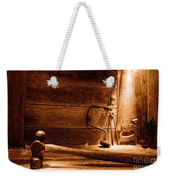 The Old Workshop - Sepia Weekender Tote Bag