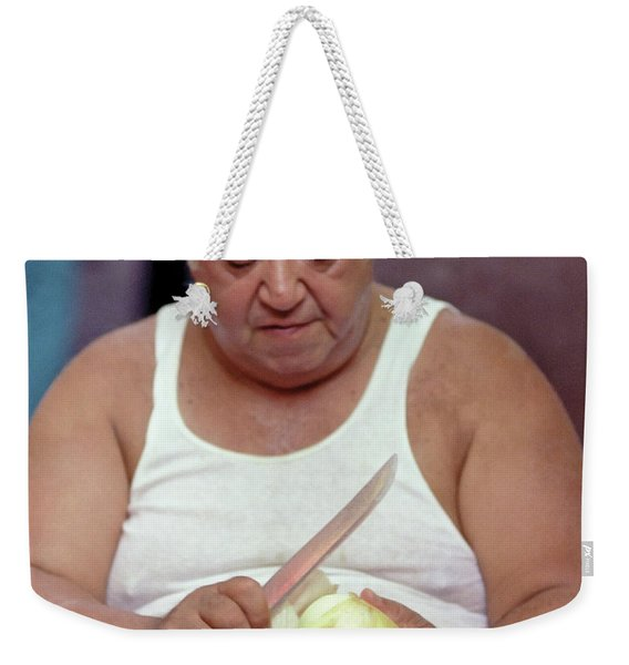 Weekender Tote Bag featuring the photograph The Onion Man by Frank DiMarco