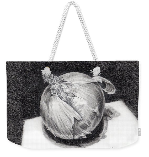 Weekender Tote Bag featuring the drawing The Onion by Nancy Cupp