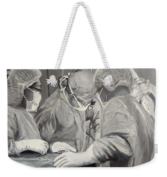 Weekender Tote Bag featuring the painting The Operation by Kevin Daly