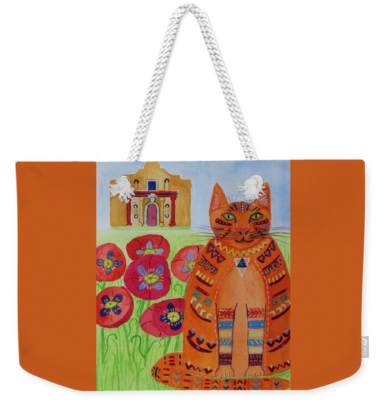 the Orange Alamo Cat Weekender Tote Bag
