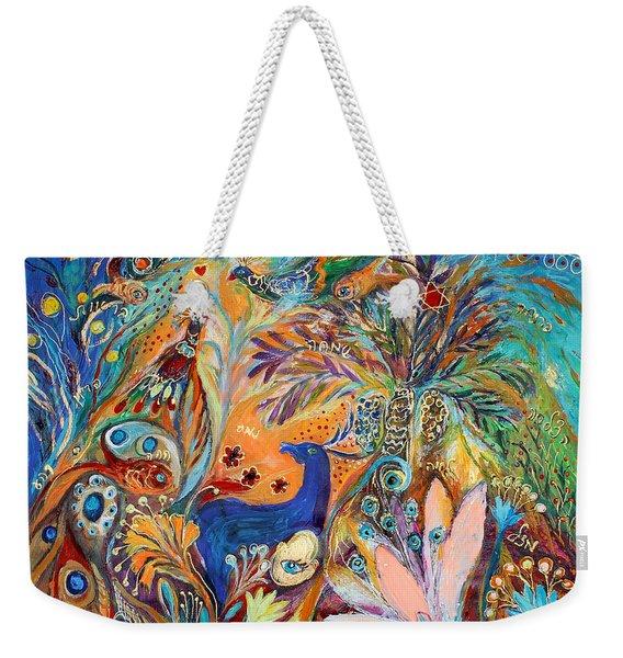 The Peacocks And Blue Deer Weekender Tote Bag