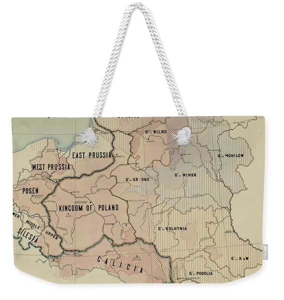 The Political Subdivision Of The Polish Territory Before The War And Its Linguistic Areas, 1918 Weekender Tote Bag