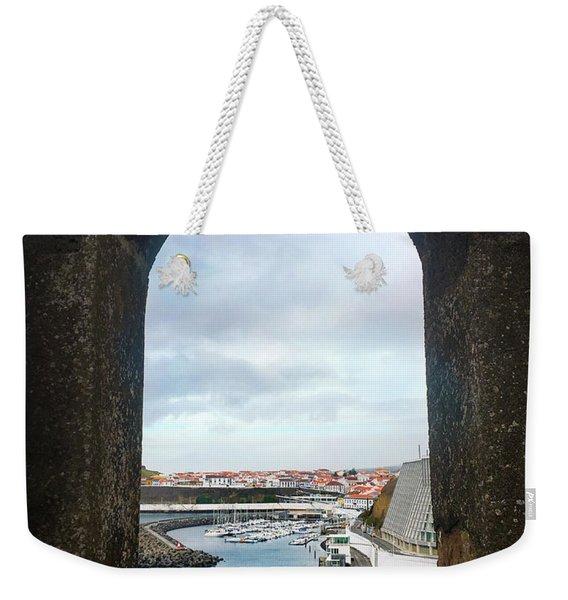 The Port Of Angra Do Heroismo From A Window In Forte De Sao Sebastiao Weekender Tote Bag