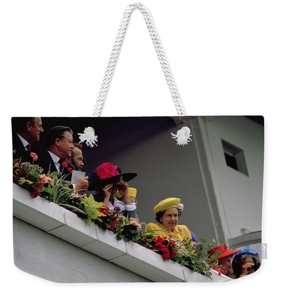 The Queen At Derby Day 1988 Weekender Tote Bag