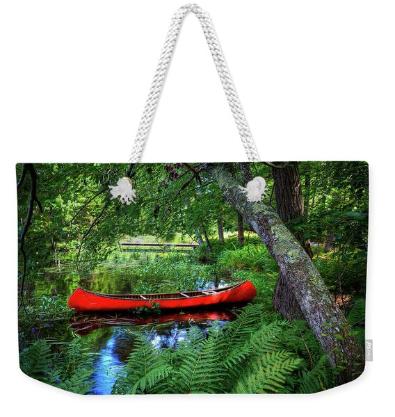 The Red Canoe On The Lake Weekender Tote Bag
