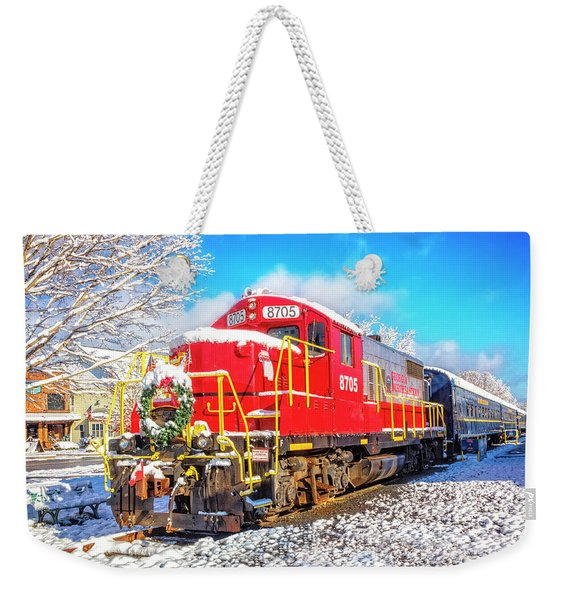 The Red Engine At Christmastime Weekender Tote Bag