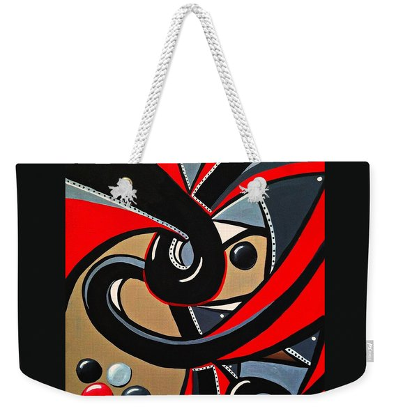 Red And Black Abstract Art Painting Weekender Tote Bag