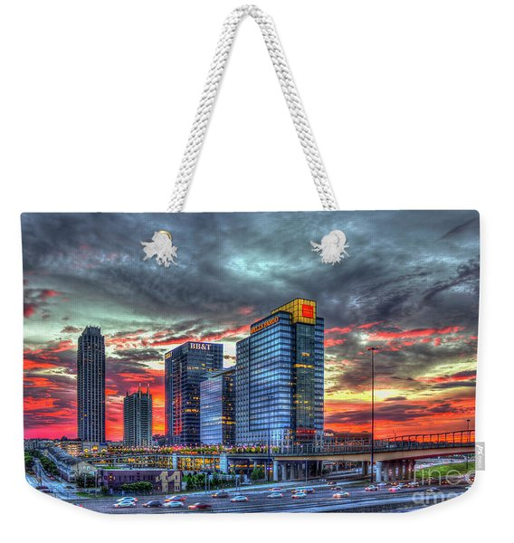 The Red Sunset Midtown Atlanta Cityscape Art Weekender Tote Bag