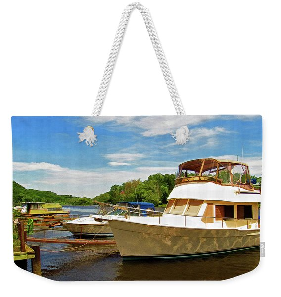 Weekender Tote Bag featuring the photograph The Rondout At Eddyville by Nancy De Flon