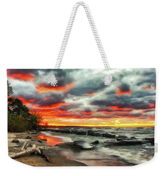 The Sky On Fire At Sunset On Lake Erie Weekender Tote Bag
