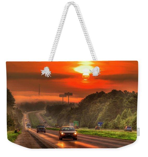 The Sunrise Commute Georgia Interstate 20 Art Weekender Tote Bag
