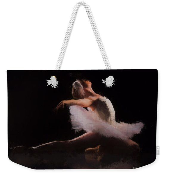 Weekender Tote Bag featuring the painting The Swan  by Rosario Piazza