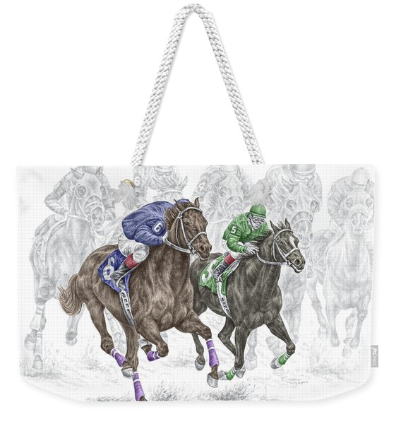 The Thunder Of Hooves - Horse Racing Print Color Weekender Tote Bag