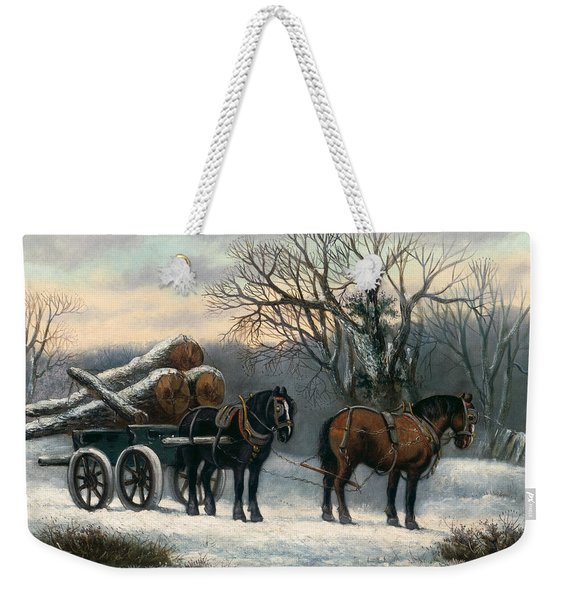 The Timber Wagon In Winter Weekender Tote Bag
