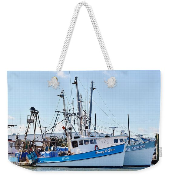 Weekender Tote Bag featuring the photograph The Tony And Jan - West Ocean City Harbor by Kim Bemis