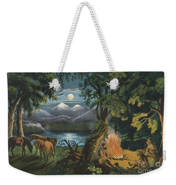 The Trappers Camp Fire Weekender Tote Bag