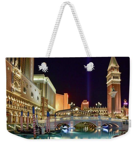 The Venetian Gondolas At Night Weekender Tote Bag