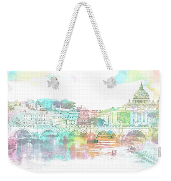 The View From Castel Sant'angelo Towards Ponte Sant'angelo, Brid Weekender Tote Bag
