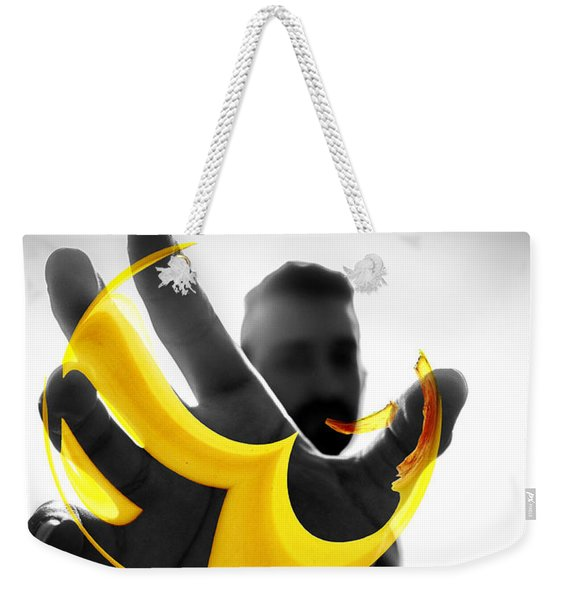 Weekender Tote Bag featuring the digital art The Virtual Reality Banana by ISAW Company