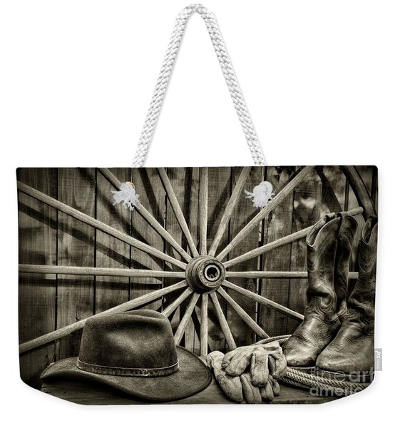 The Wagon Master In Black And White Weekender Tote Bag