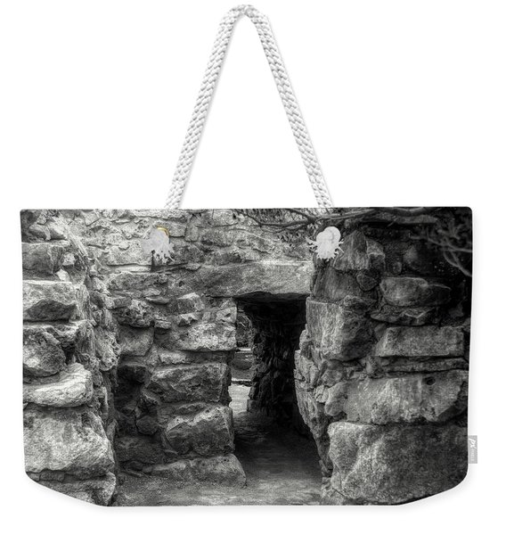 The Walls Of Tulum B/w Weekender Tote Bag