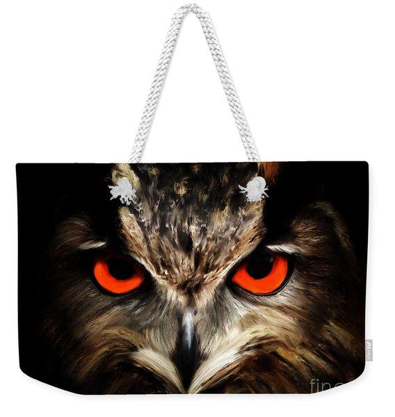 The Watcher - Owl Digital Painting Weekender Tote Bag