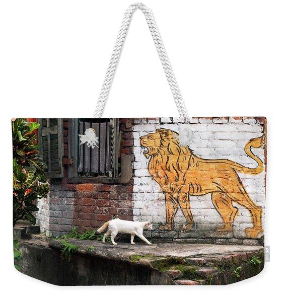 The White Cat Weekender Tote Bag