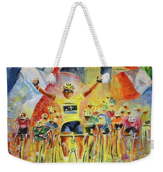 The Winner Of The Tour De France Weekender Tote Bag