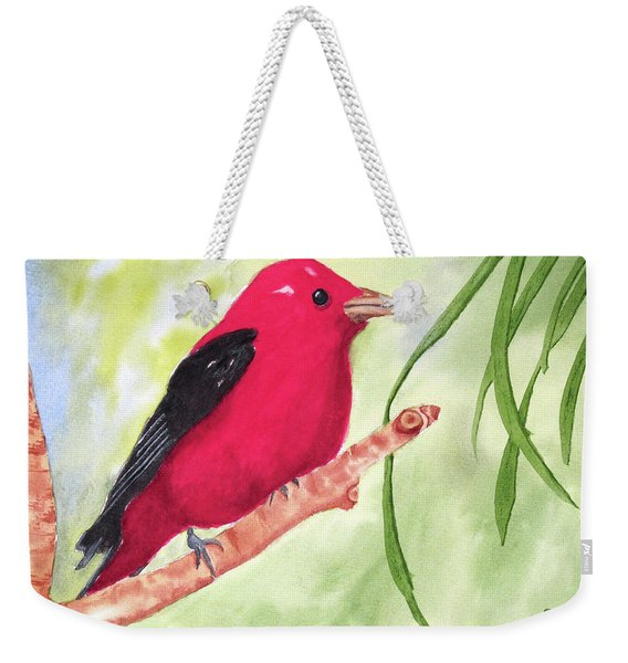Weekender Tote Bag featuring the painting Theodore Tanager by Rich Stedman