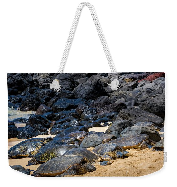Weekender Tote Bag featuring the photograph There Has Got To Be More Room On This Beach  by Jim Thompson