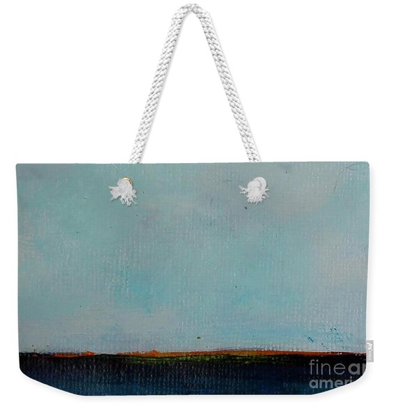 Weekender Tote Bag featuring the painting Thin Orange Line by Kim Nelson