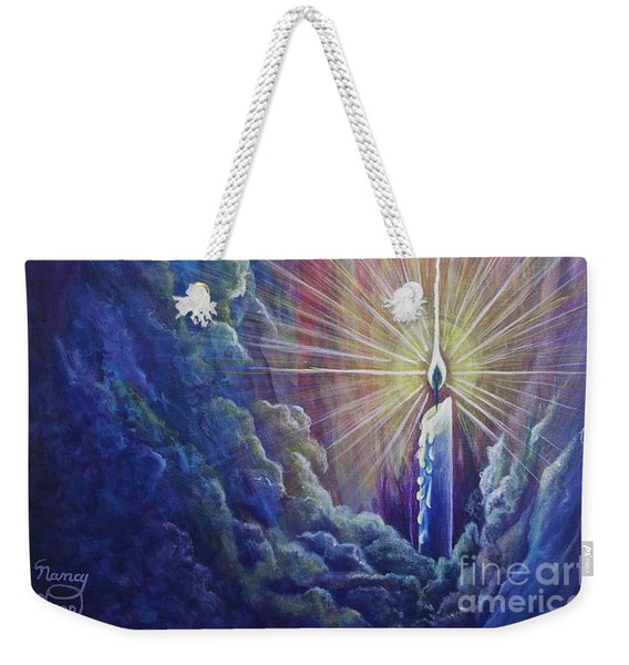 Weekender Tote Bag featuring the painting This Little Light Of Mine by Nancy Cupp