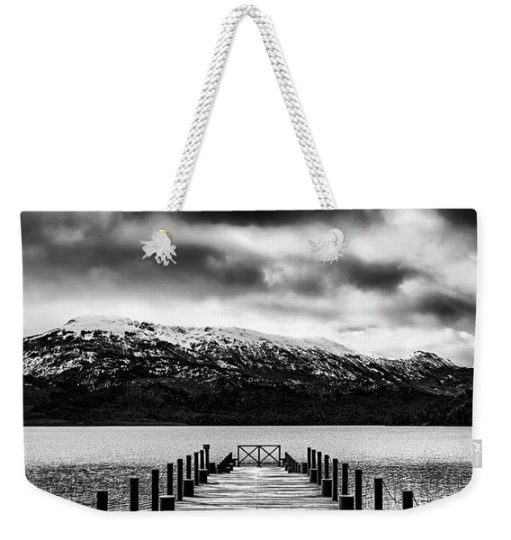 Landscape With Lake And Snowy Mountains In The Argentine Patagonia - Black And White Weekender Tote Bag