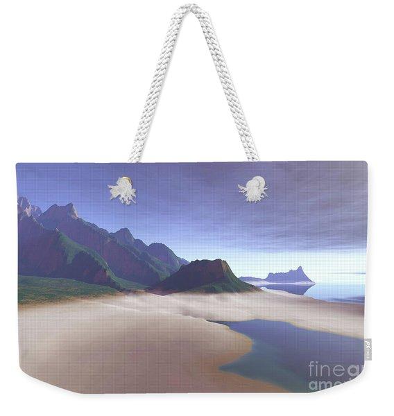 This Misty Hawaiin Coastline Weekender Tote Bag