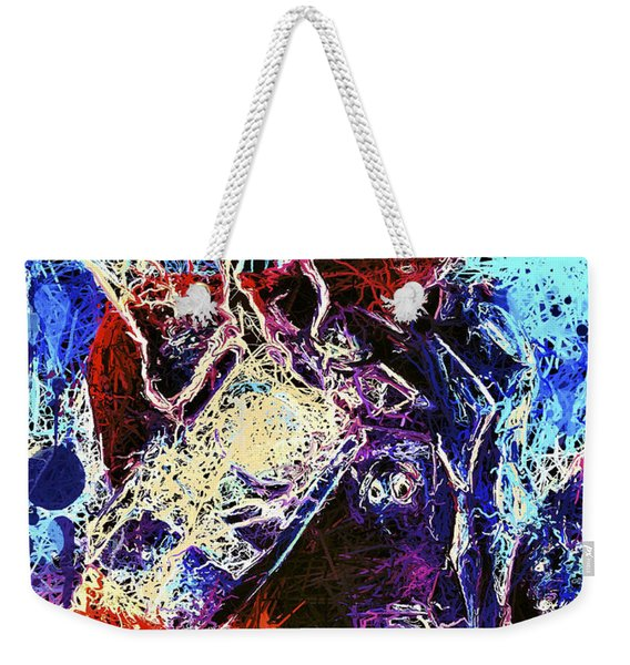 Weekender Tote Bag featuring the mixed media Thor Charged Up by Matra Art
