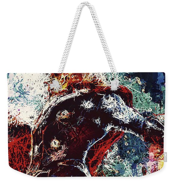 Weekender Tote Bag featuring the mixed media Thor  by Al Matra