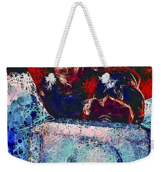 Weekender Tote Bag featuring the mixed media Thor's Hammer by Al Matra