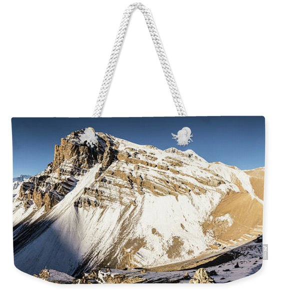Thorung La Pass In The Annapurna Range In The Himalayas In Nepal Weekender Tote Bag