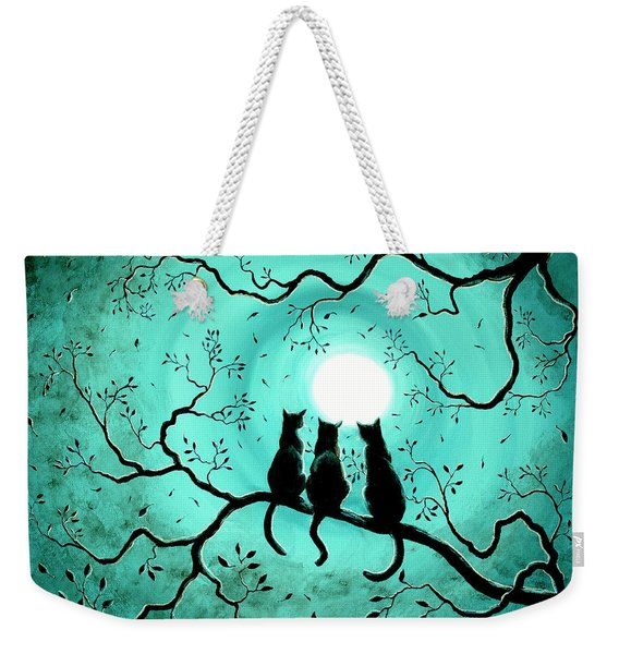 Three Black Cats Under A Full Moon Weekender Tote Bag